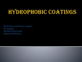 Hydrophobic Coatings