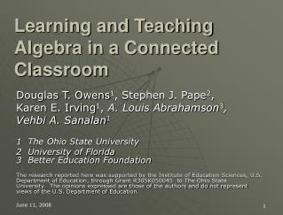 Learning and Teaching Algebra in a Connected Classroom