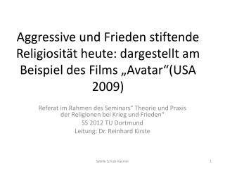 """Referat im Rahmen des Seminars"""" Theorie und Praxis der Religionen bei Krieg und Frieden"""""""