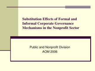 Substitution Effects of Formal and Informal Corporate Governance Mechanisms in the Nonprofit Sector