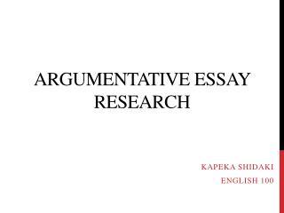 Argumentative Essay Research