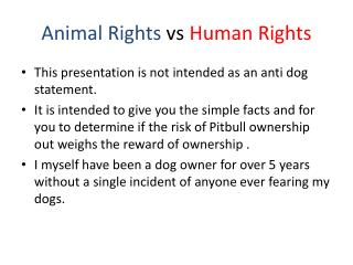 Animal Rights  vs  Human Rights