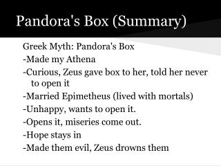 Pandora's Box (Summary)