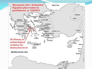 Mycenaean sites / destruction (Egyptian place-names in parentheses), ca. 1150 BCE
