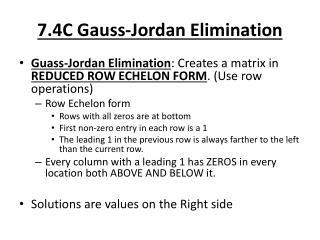 7.4C Gauss-Jordan Elimination