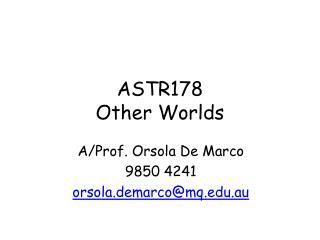 ASTR178 Other Worlds