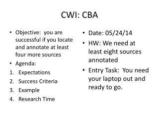 CWI: CBA