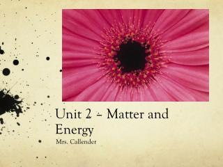 Unit 2 – Matter and Energy