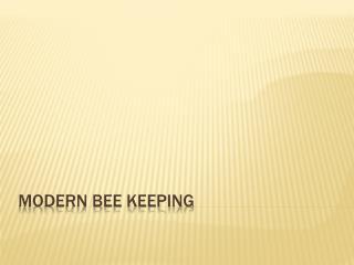 Modern bee keeping