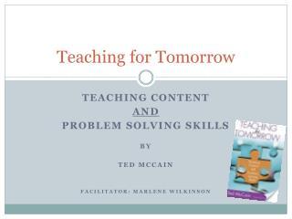 Teaching for Tomorrow