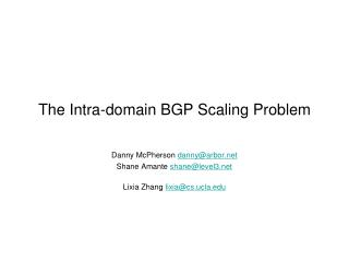 The Intra-domain BGP Scaling Problem