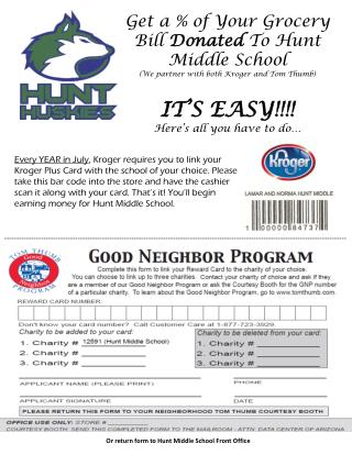 Get a % of Your Grocery Bill  Donated  To Hunt Middle School