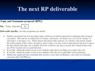 The next RP deliverable