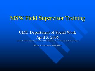 MSW Field Supervisor Training