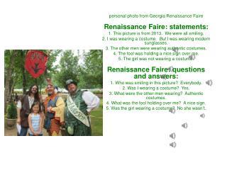 personal  photo from Georgia Renaissance Faire Renaissance Faire: statements: