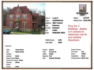 Price For 2 Buildings . Realtor is in process to determine cost for one building - Downtown