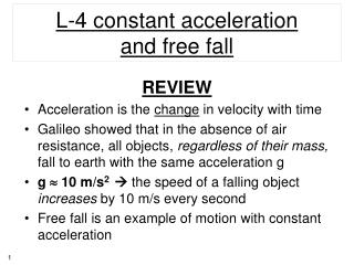 L-4 constant  acceleration and  free  fall