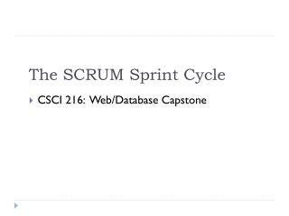 The  SCRUM  Sprint Cycle