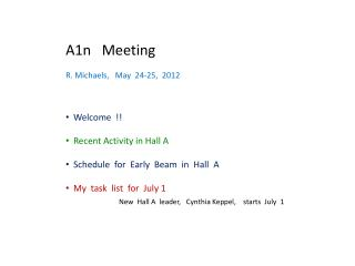 A1n   Meeting R. Michaels,   May  24-25,  2012