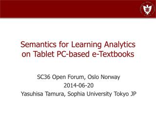 Semantics for Learning Analytics on Tablet PC-based e-Textbooks