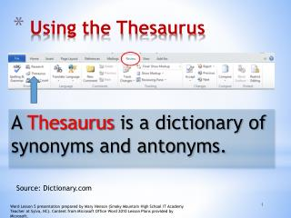 Using the Thesaurus
