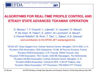 ALGORITHMS FOR REAL-TIME PROFILE CONTROL AND STEADY STATE ADVANCED ...