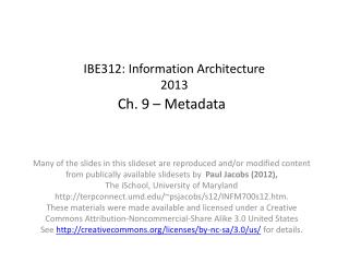 IBE312:  Information Architecture 2013