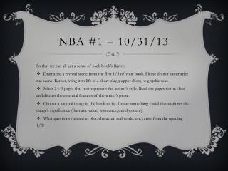 Nba #1 – 10/31/13