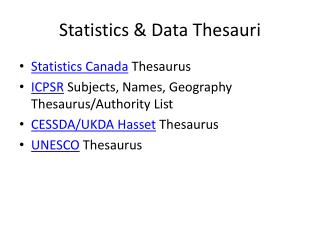 Statistics & Data Thesauri
