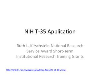 NIH T-35 Application
