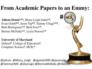 From Academic Papers to an Emmy :