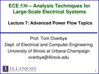ECE  530  � Analysis Techniques for Large-Scale Electrical Systems