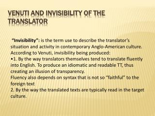 Venuti and invisibility of the translator