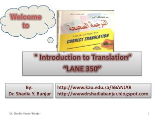 """ Introduction to Translation"" ""LANE 350"""