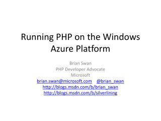 Running PHP on the  Windows Azure Platform