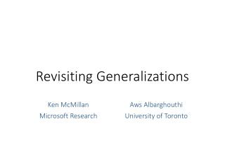 Revisiting Generalizations