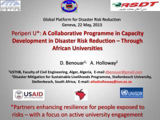 Global Platform for Disaster Risk Reduction Geneva, 22 May, 2013