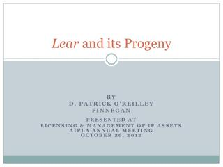 Lear  and its Progeny