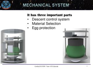It has three important parts Descent control system Material Selection Egg protection