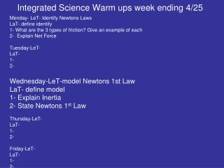 Integrated Science Warm ups week ending 4/25