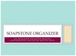 SOAPSTone Organizer
