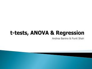 t -tests, ANOVA & Regression