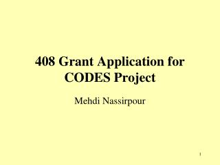 408 Grant Application for CODES Project