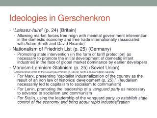 Ideologies in  Gerschenkron