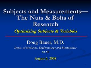 Subjects and Measurements