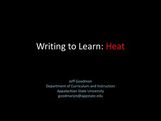 Writing to Learn:  Heat