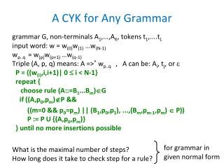 A CYK for Any Grammar