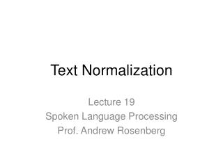Text Normalization