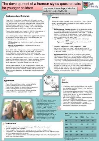 The development of a humour styles questionnaire for younger children