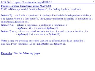 EGR 261  –  Laplace Transforms using MATLAB